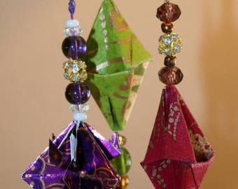 Origami Small Trio Of Elegant Fancy Hanging Ornaments