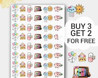 Happy Kawaii Sticker Set, Kawaii Planner Stickers, Kawaii Kit, Kawaii Stickers, Cute Stickers, Cute Planner, Cute Icons Sticker,Icon Sticker