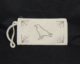 Black Crow Embroidered Pouch
