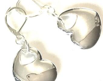 Valentine Heart Earrings, Unique Silver Heart Earrings, Gift for Her, Silver Drop Earrings, On Trend Earrings, Double hearted Earrings