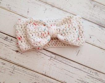 Bow Ear Warmer, Baby, Toddler Ear Warmer, Bow Headband, Crochet Bow Head Wrap, Bow Headband, Bow Ear Warmer, Ear Warmer, READY TO SHIP