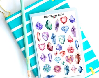 Watercolour Crystals Gems Planner Stickers | Mystery Grab Bag August 2017 | Crystals Stickers | Gems Stickers (MGB-AUG17)
