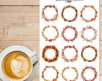 Autumn Wreaths Planner Stickers | Wreath Stickers | Fall Stickers | Autumn Stickers | Fall Wreaths Stickers (S-314)