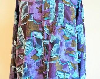 Vintage Mens Silk Shirt / Buttons down / Pure Silk / Medium M / 100% Silk / Shirts / Blue /  long sleeves