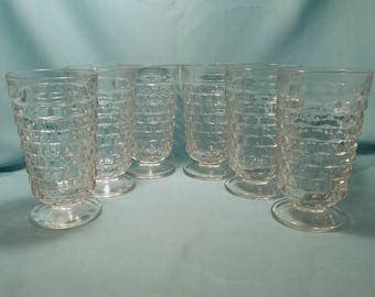 WHITEHALL FOSTORIA TUMBLER Colony/Indiana Glass American Clear Glasses Ice Tea Goblet Footed 1960's Vintage Retro