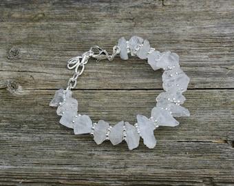 Raw White Quartz Bracelet ~ Clear Crystal ~ Semi Precious Stones ~ Wedding Wear ~ One of a Kind Jewelry ~ Eternally Best Dressed ~ Bohemian