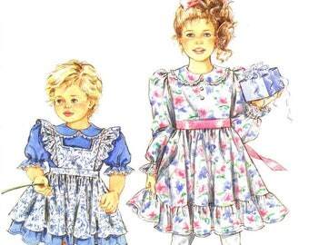 Simplicity 8070, Child's Dress and Pinafore, Vintage Sewing Patterns, Vintage Children's Dress, Vintage Clothing, Clothing Patterns, 1992