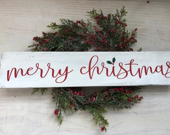 Merry Christmas Wooden Sign- Christmas Sign- Rustic Holiday Sign