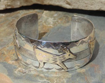 Native American Wide Sterling Cuff Bracelet with Gold Fill Deer - 36 Grams