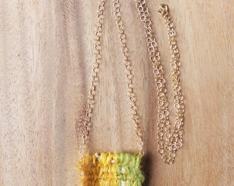 Botanical Dutch Flower Woven Necklace/ Delicate Fiber Jewelry/ All Natural Fibers and Yarn with Gold Chain/ Green, Yellow, Orange Mohair