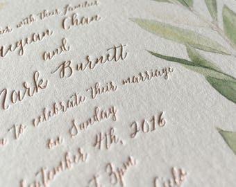 Watercolor Letterpress Wedding Invitation Rustic invite olive wreath greenery stationery Suite modern calligraphy foil - Rustic Romance