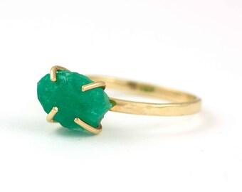 Emerald Ring, Raw Emerald Ring, Emerald Gold Ring, Raw Gemstone Ring, Natural Emerald, May Birthstone, 14K Gold, Raw Stone Ring, GR0300