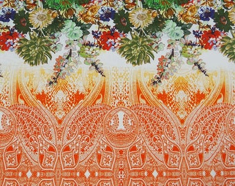 "Dressmaking Fabric, Floral Print, Home Decor Fabric, Orange Fabric, Sewing Material, 42"" Inch Cotton Fabric By The Yard ZBC5799"