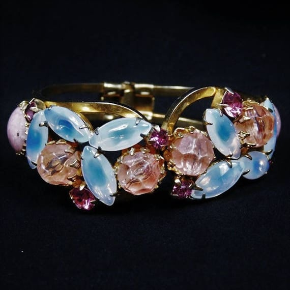 Juliana Rhinestone Clamper / Moonstone Art Glass Hinged Bracelet / Cuff / DeLizza Elster