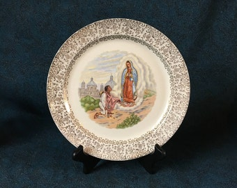 "Vintage ""Our Lady of Guadalupe"" Gold Filigree Dinner Plate, Taylor Smith Taylor, Religious Decorative Plate"