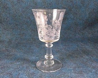 Vintage Fostoria Willow Water Goblet, Etched Asian Pagoda Wine Glass