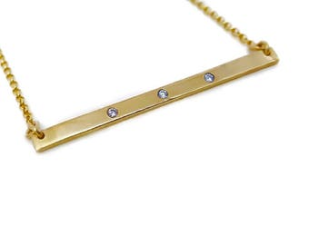 3 Stone bar Necklace