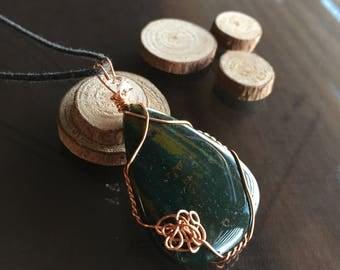 Bloodstone and Herkimer Diamond Necklace, Bloodstone Necklace