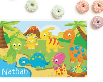 Dinosaur personalized placemat, Placemats for kids, Kids placemats, Personalized with name, Laminated, Double sided placemat, PM15