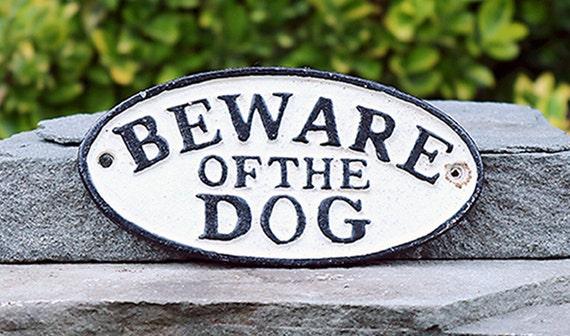 Beware of Dog-Oval Cast Iron Sign-Vintage Style sign-memorabilia sign-Dog sign-Dog Warning sign Canine Danger sign- Hand Painted sign