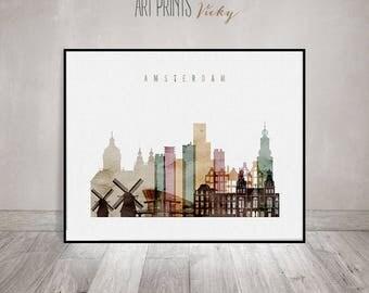 Amsterdam print watercolor, Amsterdam poster, Travel, Wall art, City prints, Amsterdam skyline, Netherlands art, Home Decor, ArtPrintsVicky