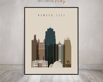 Kansas City skyline, art print, Poster, Wall art, travel, wall decor, office decor, City print, Home Decor, Gift, ArtPrintsVicky