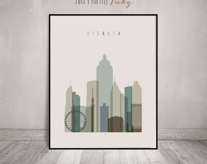 Atlanta print, Poster, Wall art, cityscape, Atlanta Georgia skyline, City poster, Typography art, Home Decor, Digital Print ArtPrintsVicky