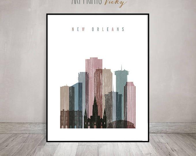 Wall Art New Orleans skyline art print, Travel Poster,  Louisiana cityscape, housewarming gift, Home Decor, distressed art, ArtPrintsVicky