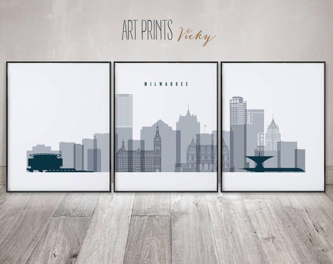 Milwaukee set of 3 prints, 3 pieces wall art, Milwaukee skyline, wall art, large wall art, travel decor, gift, home decor, ArtPrintsVicky