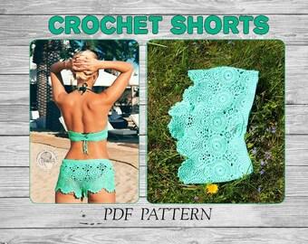 Crochet Shorts Pattern/  Crochet Shorts/ Crochet Beach Shorts/ Crochet Beach/ Crochet Bikini Bottom/ Crochet Bikini Pattern/ Crochet Boho