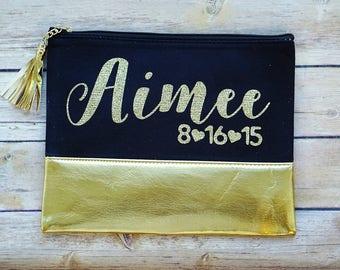 Bridesmaid Bag / Bridesmaid Proposal / Personalized Bridesmaid Gift / Makeup Bag / Cosmetic Bag / Gold Cosmetic Pouch / Bridal Party Gift