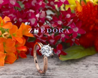 Rose Gold Solitaire Engagement Ring in  14k or 18 K Rose Gold, 1.0 CT Rose Gold Bridal Ring, Engagement Ring, Rose Gold Solitaire , Zhedora