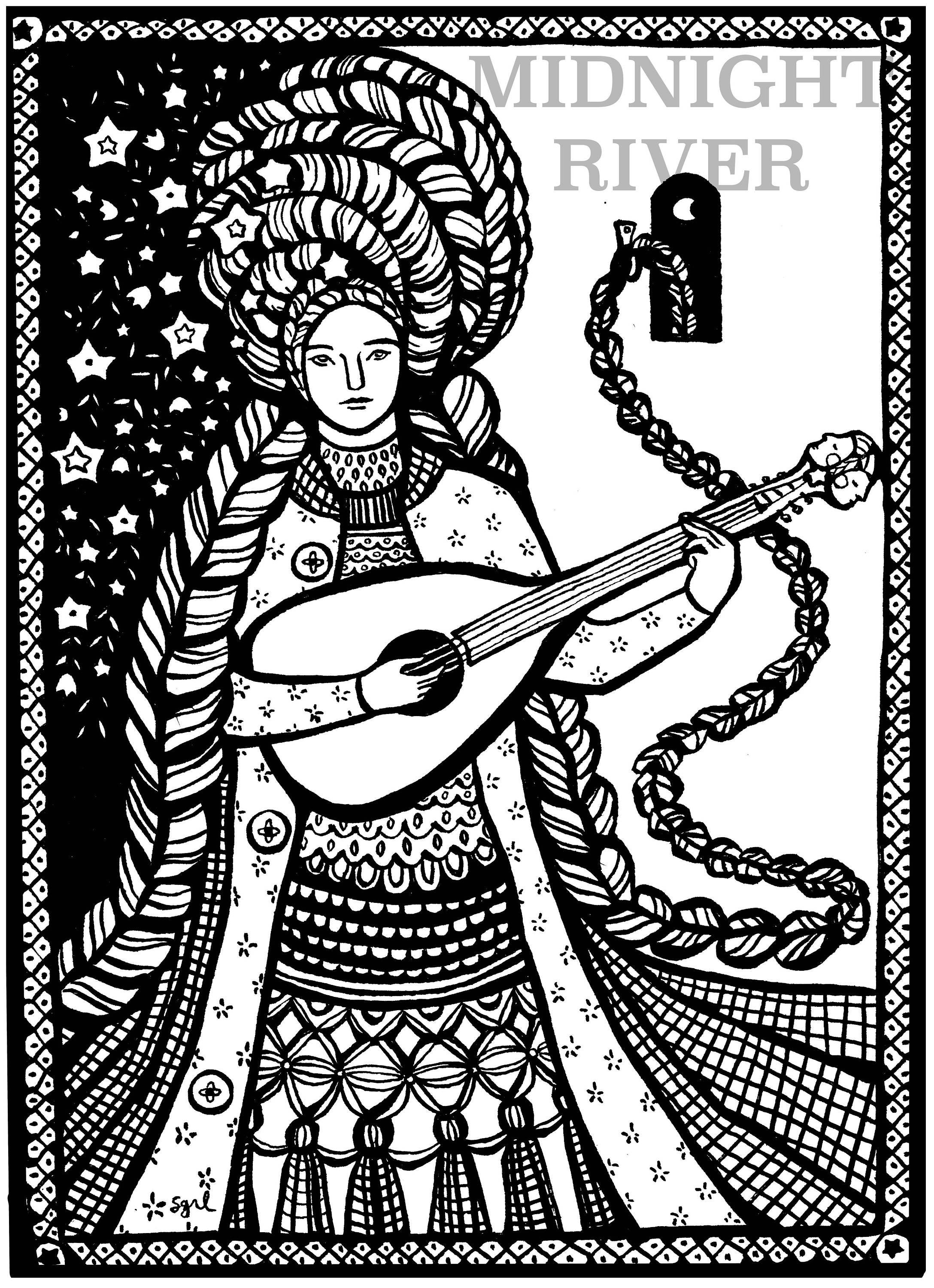 Rapunzel + Lute Printable Coloring Page // Magical Detailed Illustration, Woman with Beautiful Flowers // Instant PDF