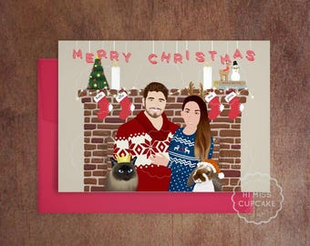 Unique holiday cards etsy for Unique family christmas cards