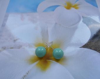 Green swarovski Pearl Stud Earrings