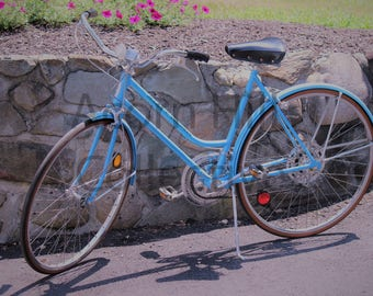 Antique Bicycle Photograph Print, Blue Schwinn Suburban Bike, Sport Fine Art, Vintage Bicycle Pictures, Bike Wall Art, Biker Image