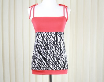 Black-Red and White Top • Summer Top • Spaghetti top • Sleeveless Top
