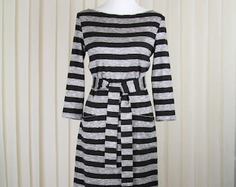 Black-Gray Stripe Dress • Knee Length Dress • 3/4 Sleeve Dresses • Dress with pockets