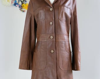 1990s Leather Trench Coat - Dark Brown - Button Up - Three Quarter Length - Classic Long Vintage Fall Coat - Medium/Large - Pristine