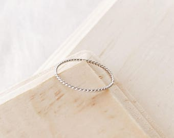 C1006 - New Twist Braid Ring, Stainless Steel Size 6 Ring, Gold or Silver Ring