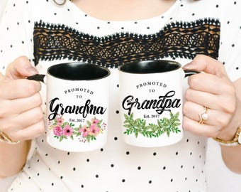 Promoted to Grandma Mug - Pregnancy Reveal Mug - Baby Announcement Mug - New Grandparents Mug - Grandparents Mugs Set - Grandpa Mug