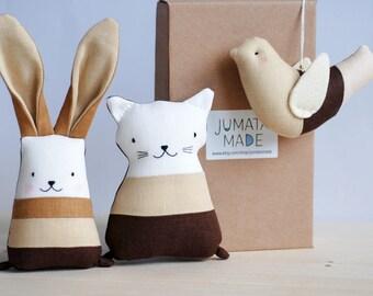 Boho brown gift for new mom, newborn gift basket, unisex toys set, stuffed bunny cat bird, chocolate brown soft toys, nursery decor