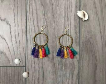 Boho Hoop Tassel Earrings
