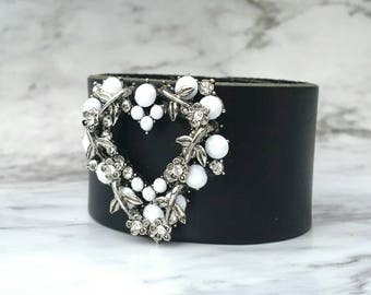 Heart brooch black leather cuff bracelet,  heart bracelet, women's leather bracelet, romantic bracelet, gift for her, flowers and vines