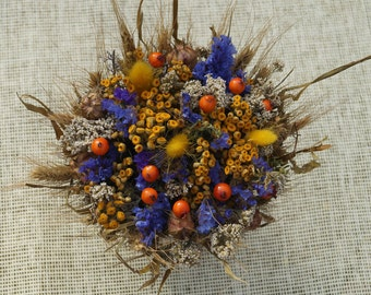 Dried flowers Colorful Dried flower ear bouquet Garden flowers Flowers in basket Table decor Wedding table decor Rustic decor Dining room