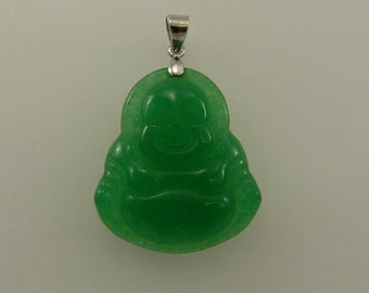 Green Jade Buddha Pendant with Sterling Silver