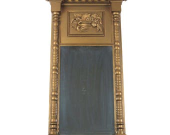 Antique gold wall mirror 19th c Federal looking glass narrow vintage painted