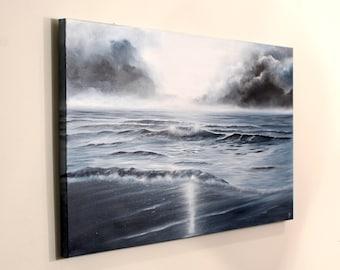 Ocean Waves Contemporary Painting, Atlantic Ocean Fine Art, Zen Decor, Original Large Oil Painting, Running Out of Daylight