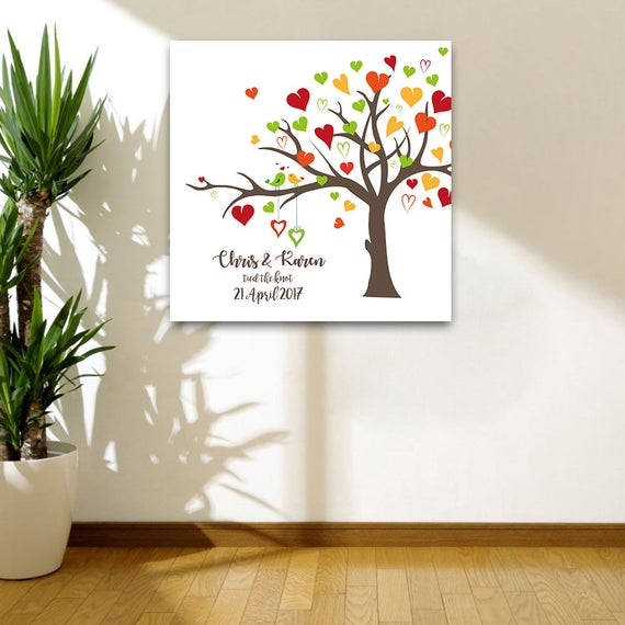 Personalised Wedding Canvas - Anniversary or Wedding Gift - Tied the Knot (Pink / Blue / Multicolour options)