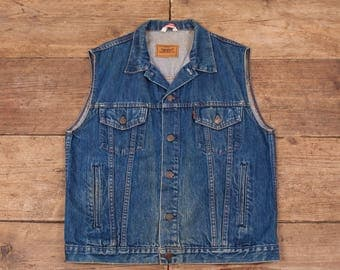 "Mens Vintage Levis Orange Tab 70507 Dark Blue Denim Vest Medium 40"" R5936"